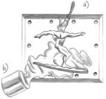Form för avtryck i bly eller snabbhärdande harts